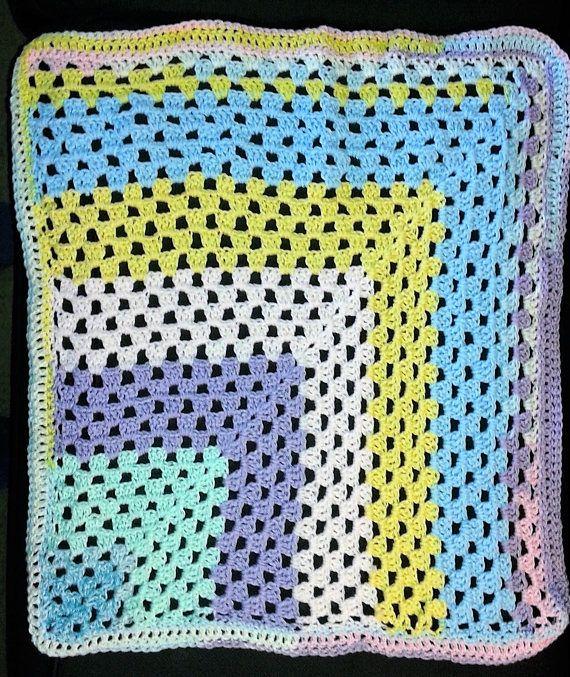 Mitred square granny stitch crochet baby blanket