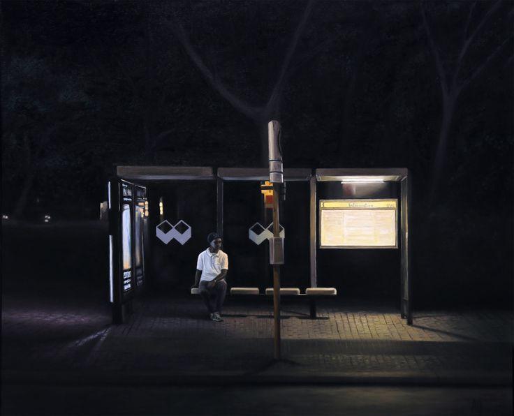 """Bus Stop, Berlín"". Óleo sobre tabla. 61x50cm."