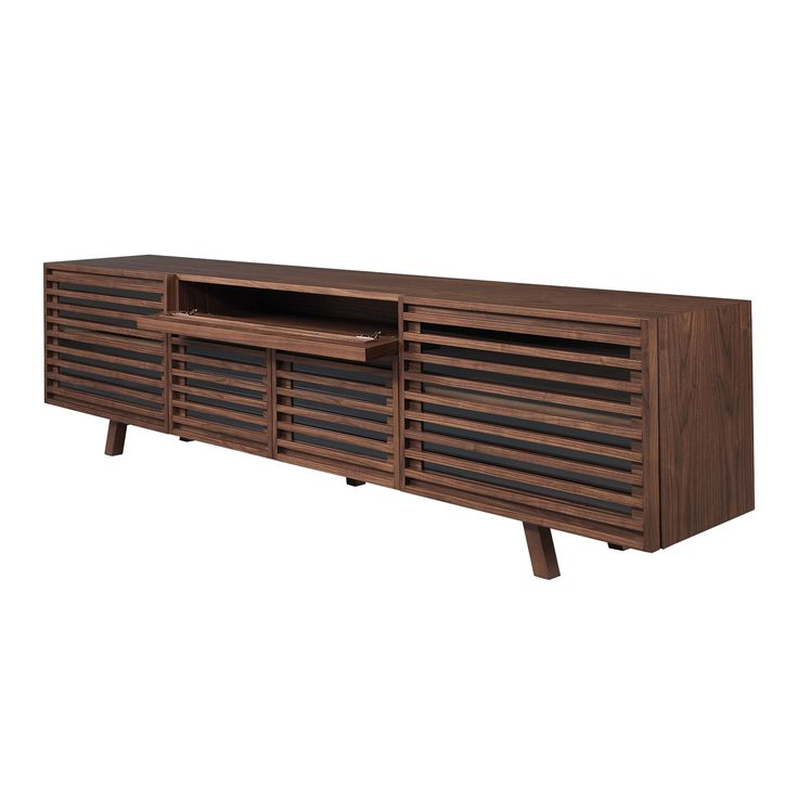 Retro TV Base - Living Room Decor - Laskasas   Decorate your Life   Just like the name, Retro TV base is a contemporary style TV support fully handmade in solid walnut veneer wood. With four doors is perfect to combine with a bold color armchair in your living or dining room.   Visit www-laskasas.com and discover more vintage style tv cabinets