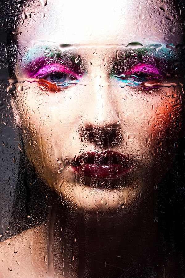 water on glass fashion photography