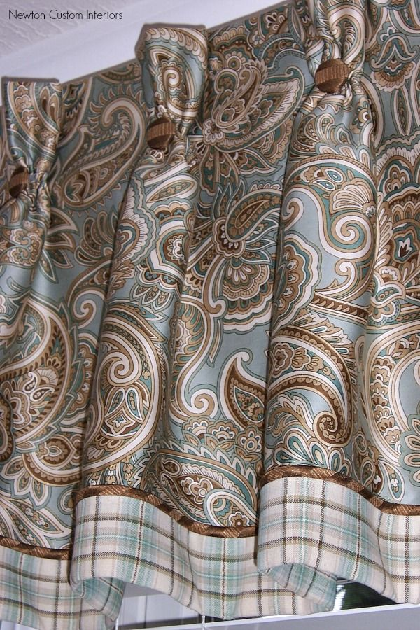 Great details on this valance- buttons, pleats, banding, edge cord.  Truly custom - Jan Newton Custom Interiors