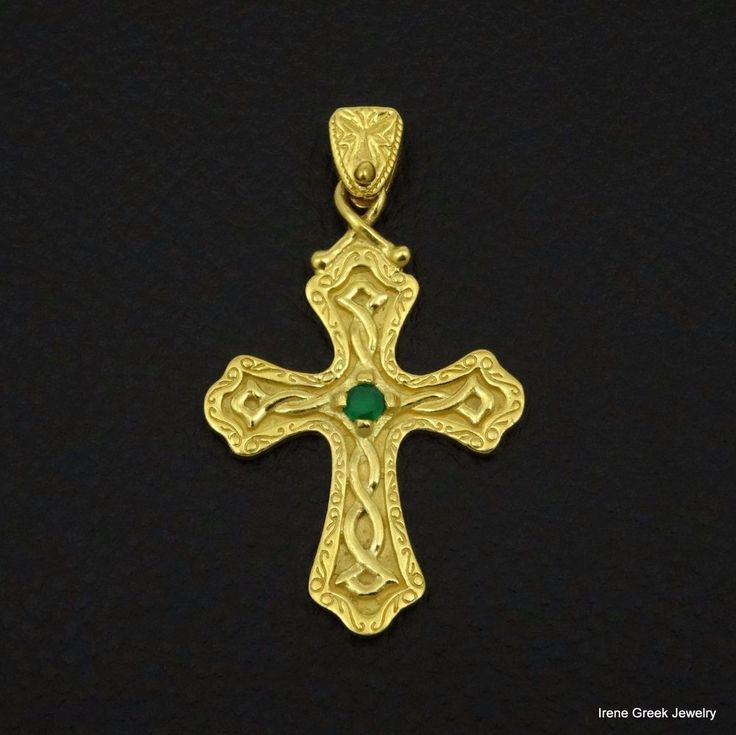 NATURAL GREEN ONYX BYZANTINE 925 STERLING SILVER 22K GOLD PLATED GREEK ART CROSS #IreneGreekJewelry #Pendant
