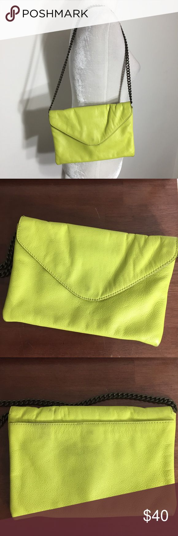 "J crew • bright neon yellow envelope clutch purse Great overall condition- some subtle wear/ discoloration spots around magnetic clasp, one spot inside. See images and ask any questions!  Measures approx 7"" x 10"" with 13"" chain drop J. Crew Bags Clutches & Wristlets"