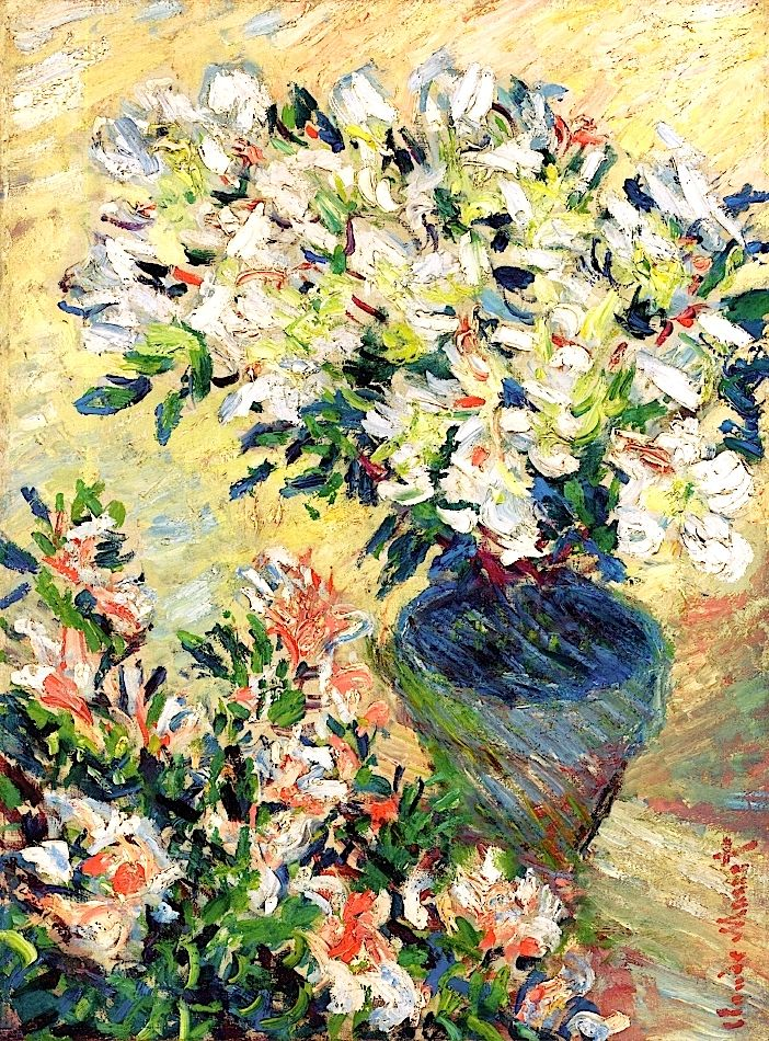 White Azaleas in a Pot Claude Oscar Monet 1885