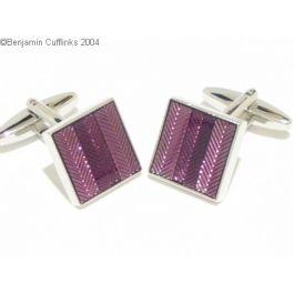 Purple Herringbone Cufflinks - Square rhodium plated purple herringbone cufflinks