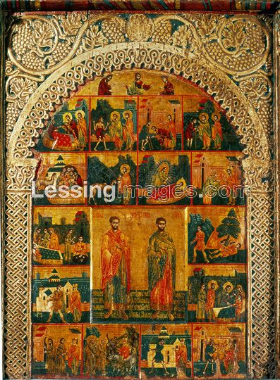 .Master Radoul (Icons) (around 1674)  Saints Cosmas and Damian,by the Radoul Master,1674. Around the two Saints, scenes from their lives and miracles.   Church of the Patriarch, Pec, Yugoslavia