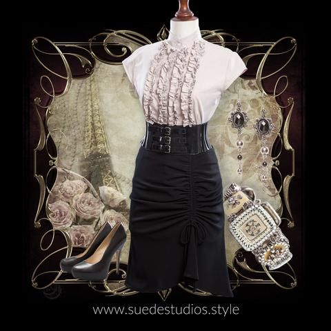 Suede Studios Style: mixes Mainstream with Steampunk to create 'Streampunk.' This montage features: Made to Order Gathered Front Skirt, Up-cycled Blush Frill Shirt, Hearsay Stilettos, Triple Buckle Belt, Baroque Style Bracelet, Victorian Style Drop Earrings. www.suedestudios.style