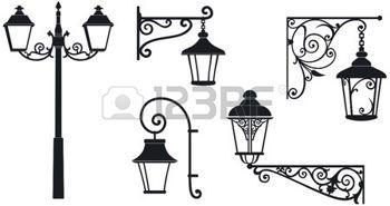 smeedijzer%3A+Ijzer+gewrocht+lantaarns+met+decoratieve+ornamenten+Vector+illustratie+Stock+Illustratie