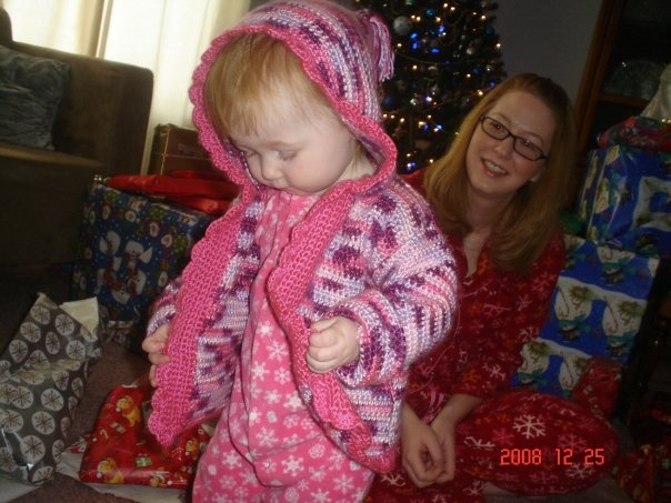Emily's sweater with Aunty Judy's help :)