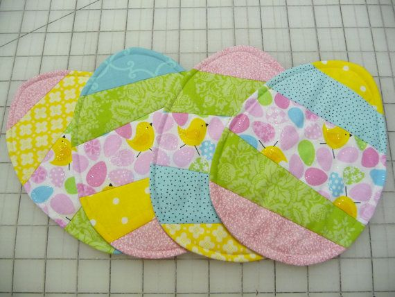 Easter Egg Mug Rugs Coasters Set of Four by SewSweetSparrow
