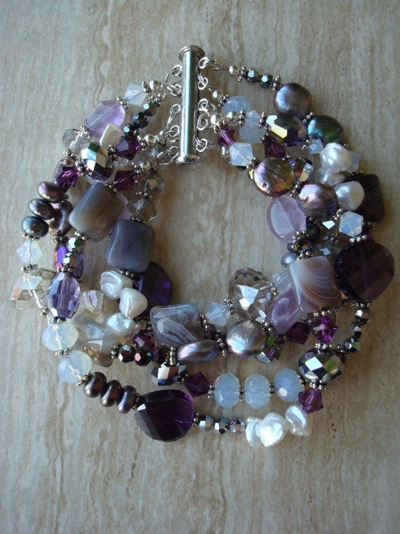 Bracelet Design Ideas hang ten Amethyst Agate And Freshwater Pearl Multi Strand Beaded Gemstone Bracelet
