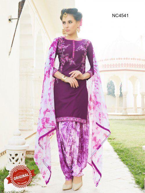 Purple & White Semi Cotton Patiala Suit