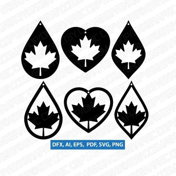 Canada leaf leather earrings