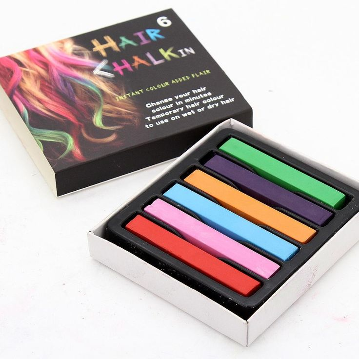 1 set dari 6 global rambut dicelup warna rambut chalk chalk pink, ungu, orange, biru, hijau, merah muda