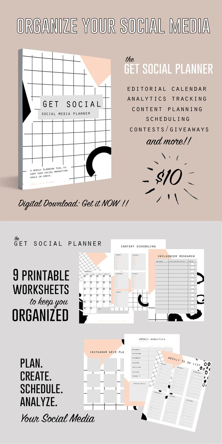 Get Social:  The digital social media planner that helps you to organize your social media marketing efforts on various platforms.  Editorial calendar, content planning, scheduling, analyzing, and more!! Buy + download immediately!!