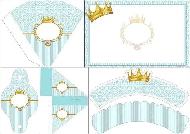 Corona Dorada en Fondo Celeste: Invitación para Imprimir Gratis e Imprimibles para Fiestas.