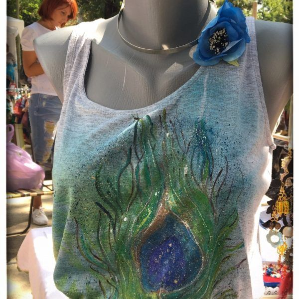 Rochie Pictata 'Peacock Feather' handmade with love by Crisia