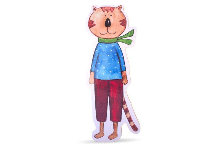 Katze als Bild, Aufsteller oder Kleiderhaken - Kinderzimmerdekoration – Fräulein Gelb