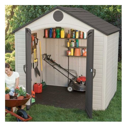 lifetime products 6418 outdoor storage shed 8 x 5 ft this picture shows a tool shed with the door open and tools inside