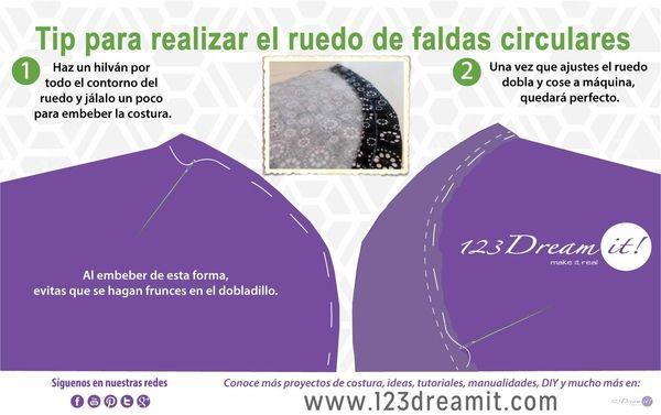 Da click en la imagen y conoce otra forma de usar el hilván que te ayudará a que el ruedo de las faldas circulares quede perfecto.