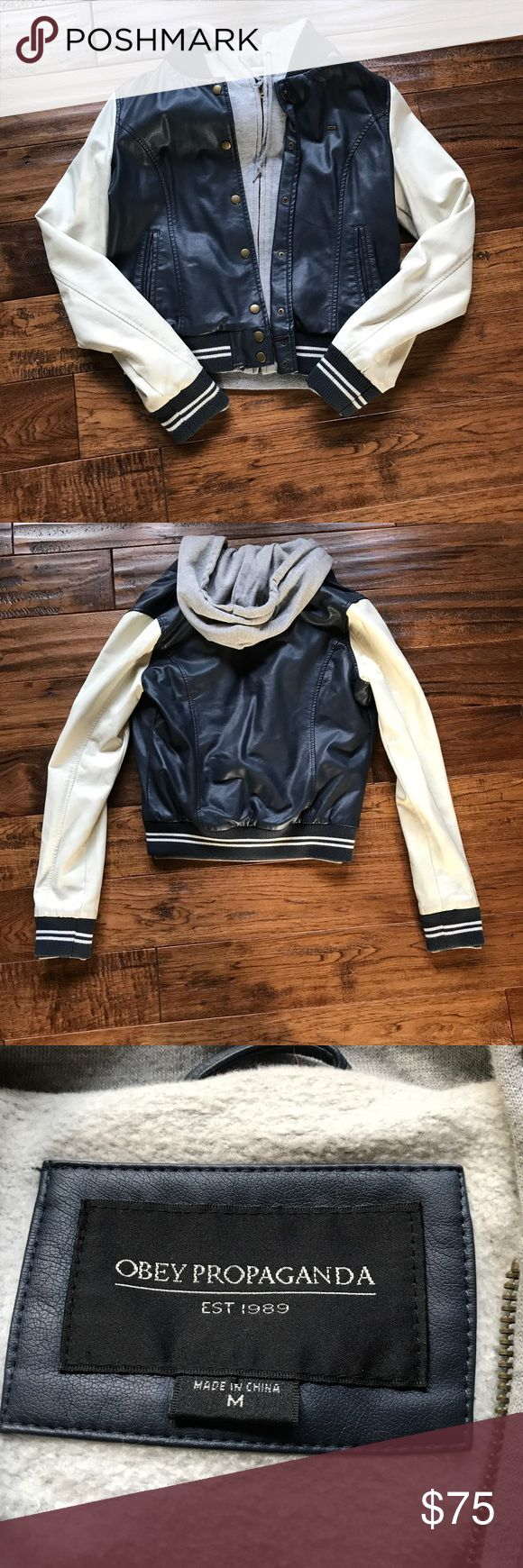 ✨✨OBEY Faux Leather Varsity Jacket OBEY Faux Leather Varsity Jacket. Small stain on right arm (can be seen in second last picture) As seen on Lea Michele Obey Jackets & Coats