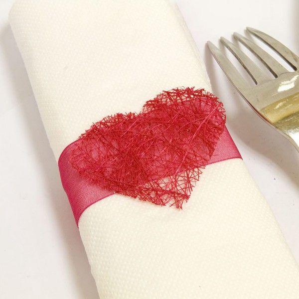 rond de serviette coeur en abaca fuchsia x 6 pièces rond de serviette ...