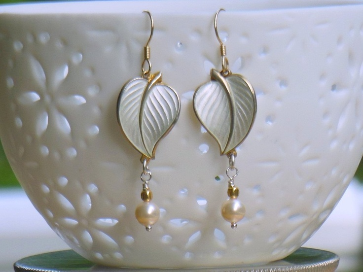Repurposed Vintage Sterling  and Gold  White Weddings  Enamel Leaves  Dangle Earrings, Hans Myhre Hallmark , Scandinavian 60' Registered