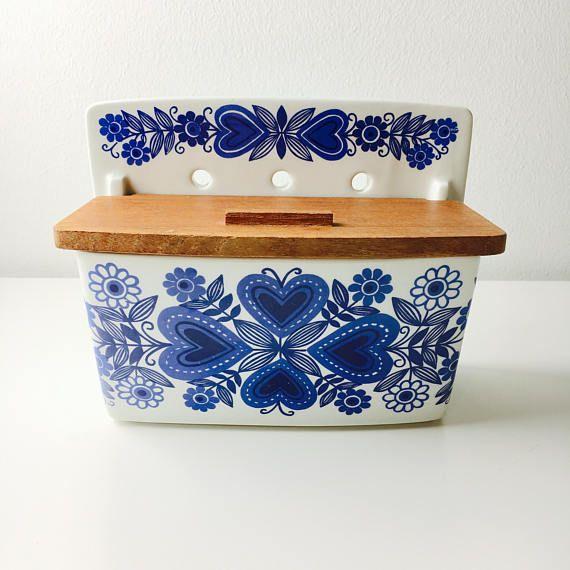 Arabia Finland ceramic with teak lid Salt Box named