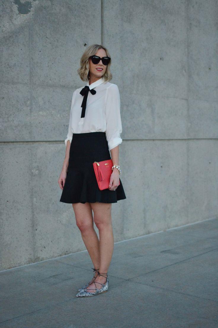 bow top, trumpet skirt, GiGi bag, snakeskin flats