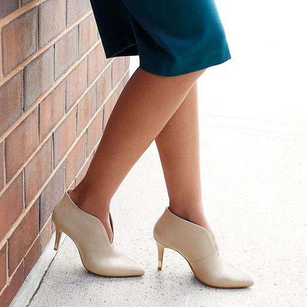 79c38801a1fae We love the refined, super-feminine touches on this slinky little bootie.  It features a cover… | New Basic Pumps | Heels…