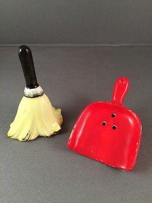 Vintage Salt Pepper Shakers Japan Enesco Broom & Dustpan