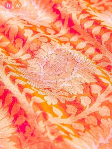 Peach Handwoven Katan (कतान) Silk Cutwork Brocade Fabric