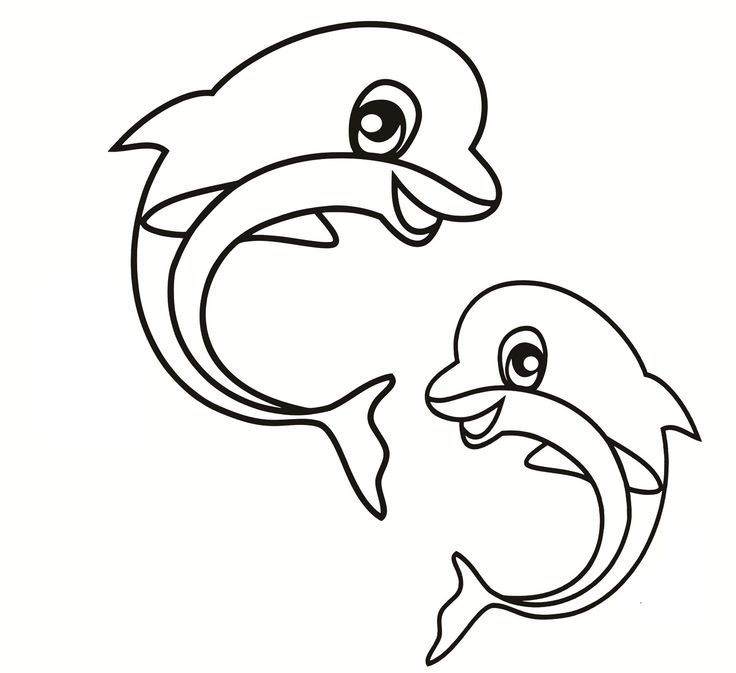 Dolphins Playing Together Coloring Pages For Kids Printable