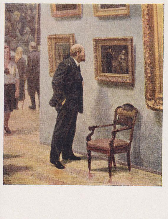 "A. Semyashkin ""Vladimir Lenin at the Tretyakov Gallery"" Postcard -- 1958. Condition 9/10"