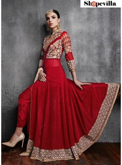 Hot Red Georgette With Embroidery Front Open Anarkali Salwar Suit-11003-C