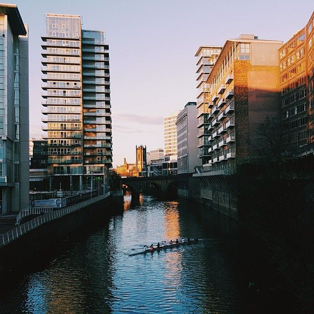 The River Irwell, which forms the boundary between Salford (left) and Manchester (right), is often used by local rowing clubs. This photo originally appeared on the @WeAreMCR Instagram account and was taken by @07pestera.