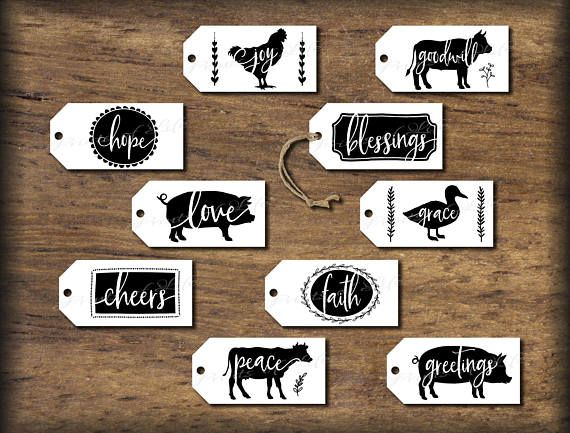 Farmhouse Gift Tags. DIY digital print. Instant download