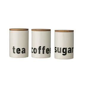 Mono TEA Coffee Sugar Canisters Kitchen Jars With White Dolomite Bamboo LID | eBay
