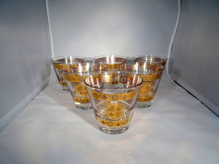 Vintage 6 Mid Century Gold Whisky Gles Hollywood Regency Bar Glware Fleur De