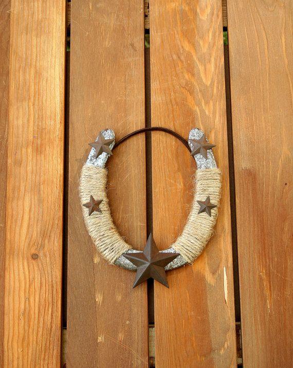 Decorated used horseshoe with stars, Western Decor, Rustic decor on Etsy, $20.00