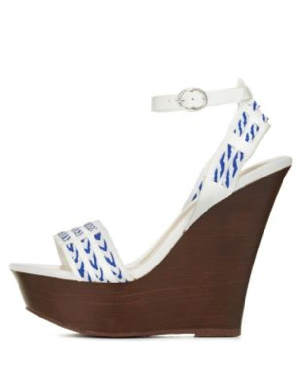 Printed Fabric & Faux Leather Platform Wedges