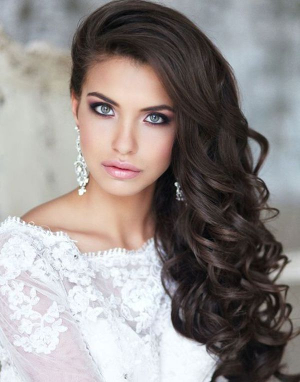 Classic, Soft Curls For Long Bridal Hairdo To The Side, By Elstile | The