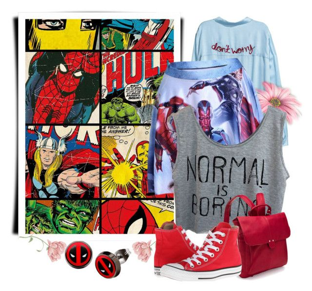 """""""Normal is Boring"""" by adelinejaned ❤ liked on Polyvore featuring Marvel, Le Donne and Converse"""