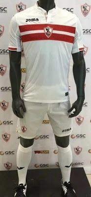 La nueva camisetas de Zamalek SC baratas casa 2017 2018 es blanco tradicional con dos rayas rojas que contienen jeroglíficos sublimados en ellos en su pecho.