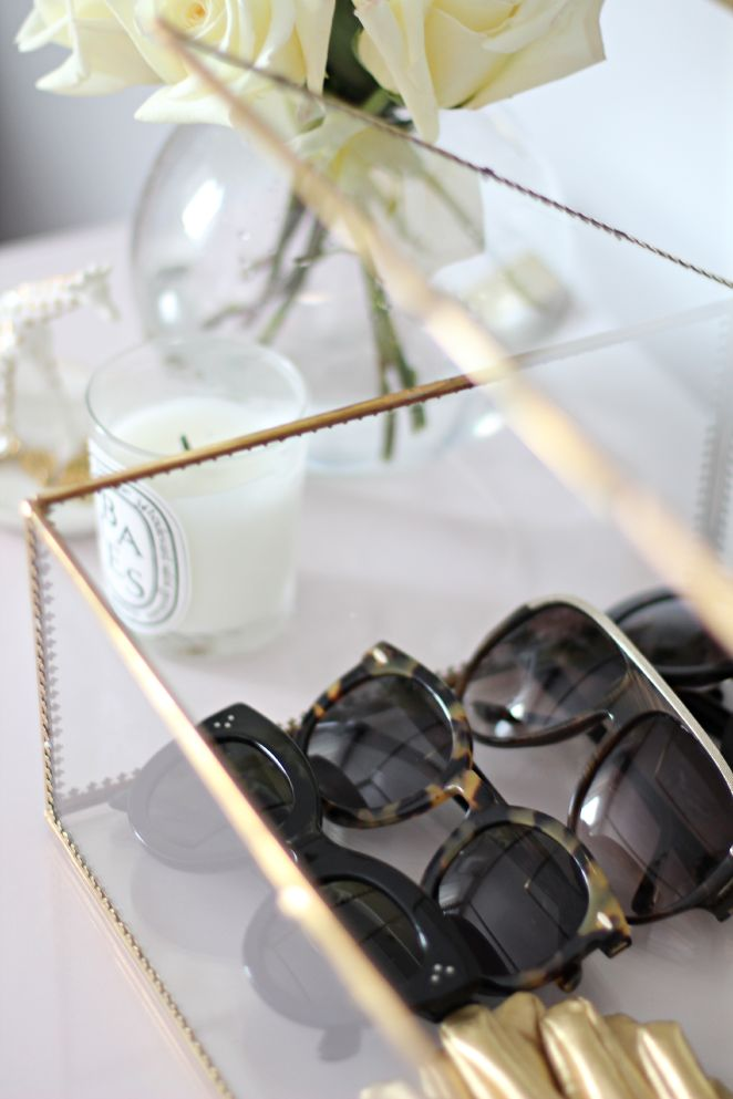 Display sunglasses in clear glass box (http://www.westelm.com/products/2125789/?catalogId=42&bnrid=3917500&cm_ven=AfCmtyCont&cm_cat=rewardStyle&cm_pla=CJ&cm_ite=Std)