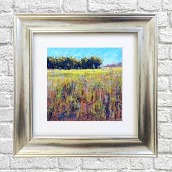 Original Pastel Painting Green Field by Bluishpurpletrees on Etsy