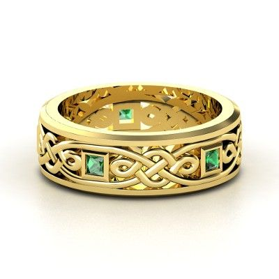 Men S 14k Yellow Gold Ring With Emerald Alhambra Knot