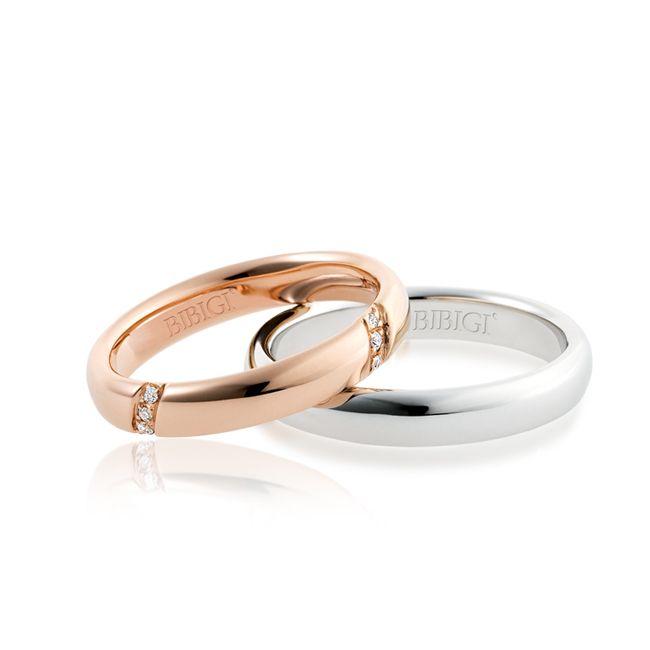 #FediNuziali in oro bianco e oro rosso e diamanti.