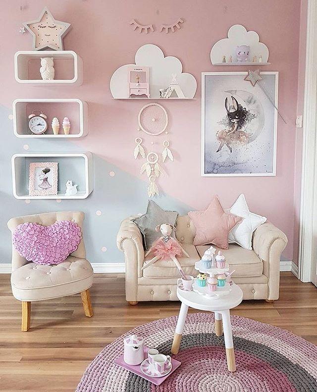 Sagen Sie uns, wie süß es wäre, das Zimmer Ihrer Tochter zu betreten und eine Teeparty zu finden, bei der alles zu Ihnen passt! C #Kinderräume # Räume für Kinder