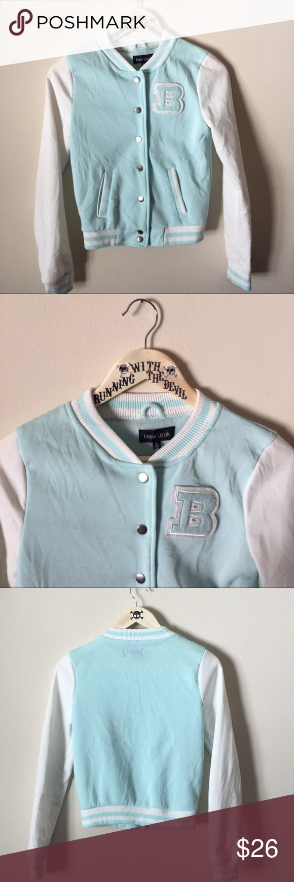 LIKE NEW! • Light blue + white letterman jacket • LIKE NEW! LIGHT BLUE & WHITE LETTERMAN JACKET   • made by NEW LOOK • light, comfortable, clean • only worn one time, excellent condition  • SIZE: SMALL New Look Jackets & Coats